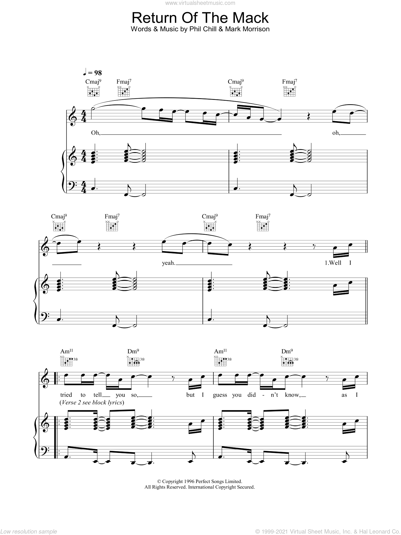 Return Of The Mack sheet music for voice, piano or guitar by Mark Morrison and Phil Chill, intermediate skill level