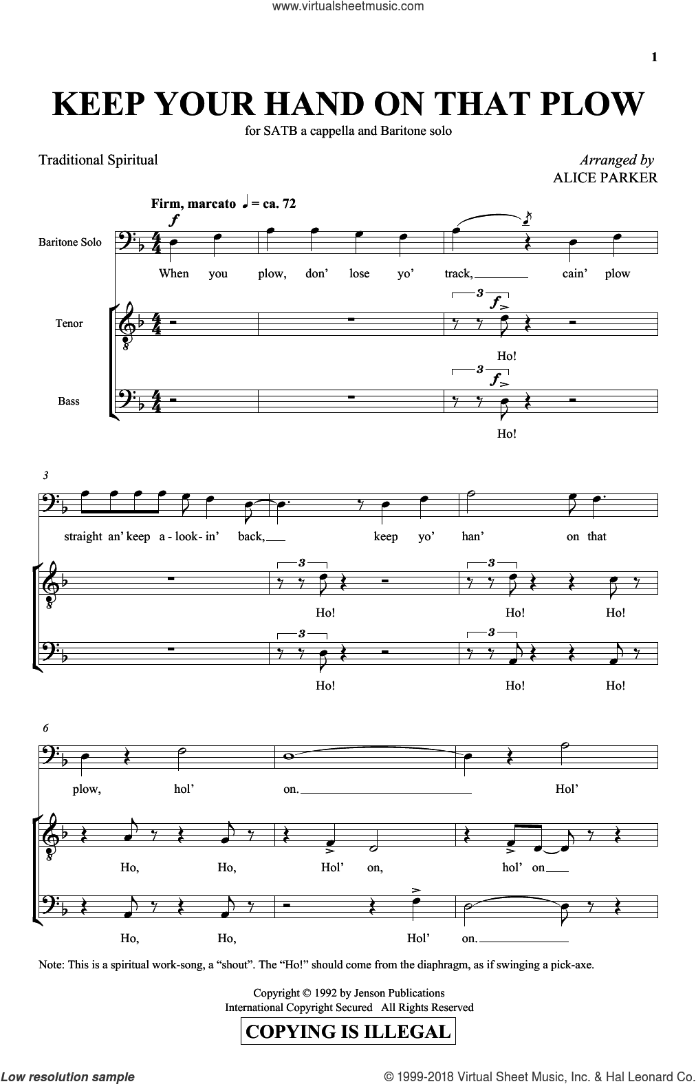 Keep Your Hand On That Plow sheet music for choir (SATB: soprano, alto, tenor, bass) by Alice Parker and Miscellaneous, intermediate. Score Image Preview.