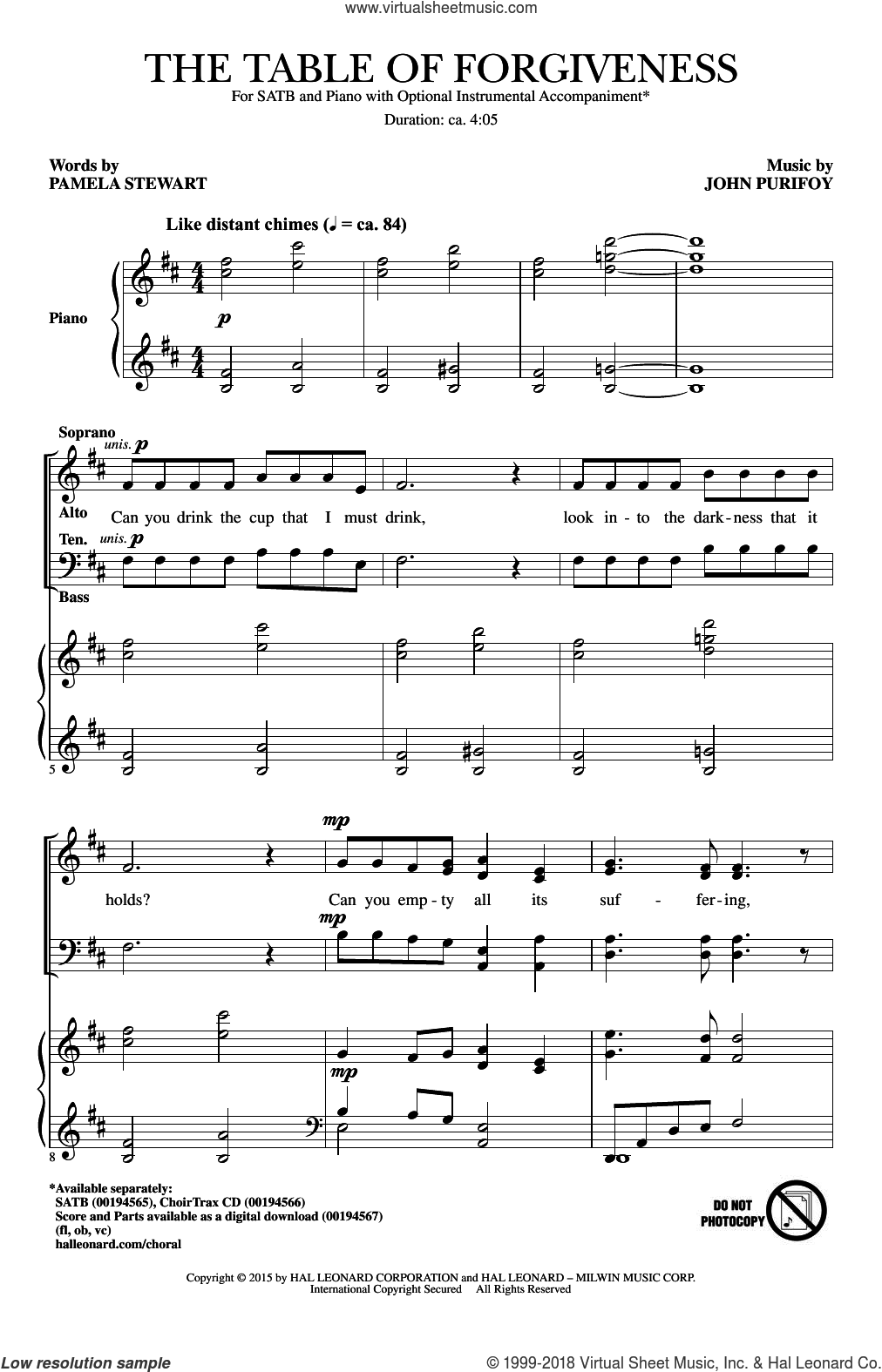 The Table Of Forgiveness sheet music for choir (SATB) by Pamela Stewart and John Purifoy. Score Image Preview.