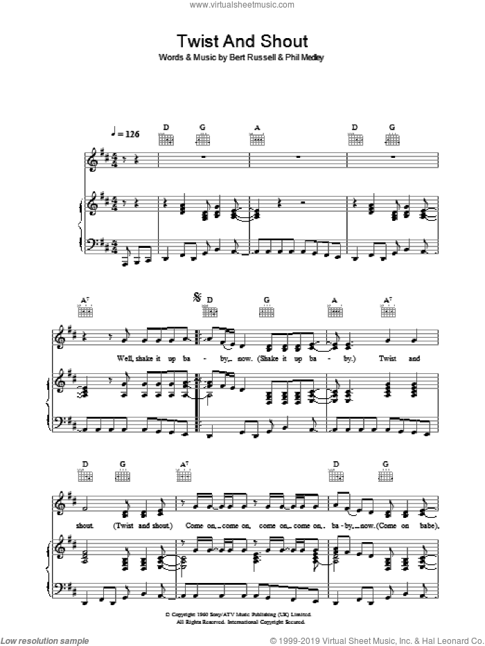 Twist And Shout sheet music for voice, piano or guitar by The Beatles. Score Image Preview.