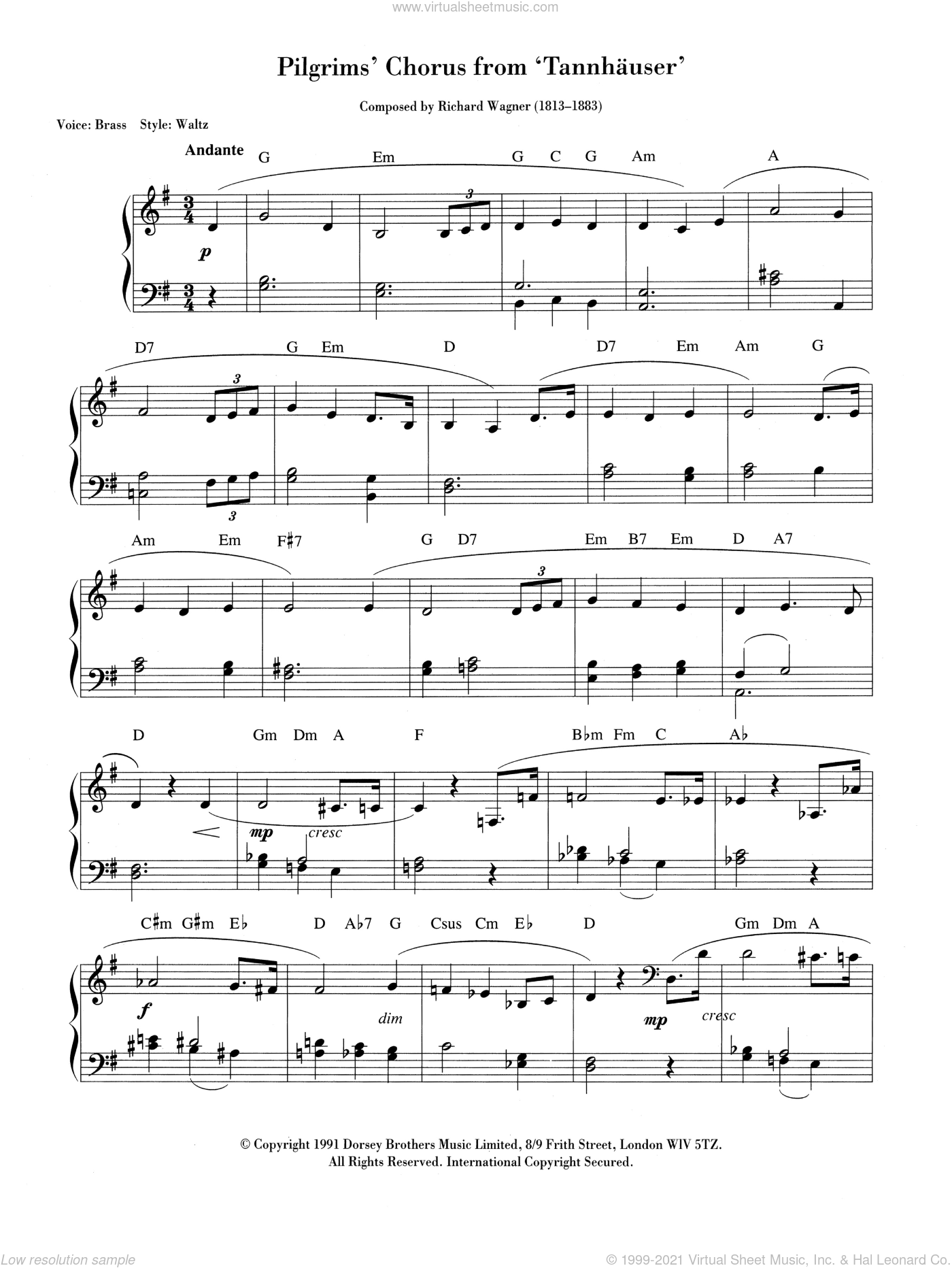 Pilgrims' March sheet music for piano solo (chords, lyrics, melody) by Richard Wagner. Score Image Preview.