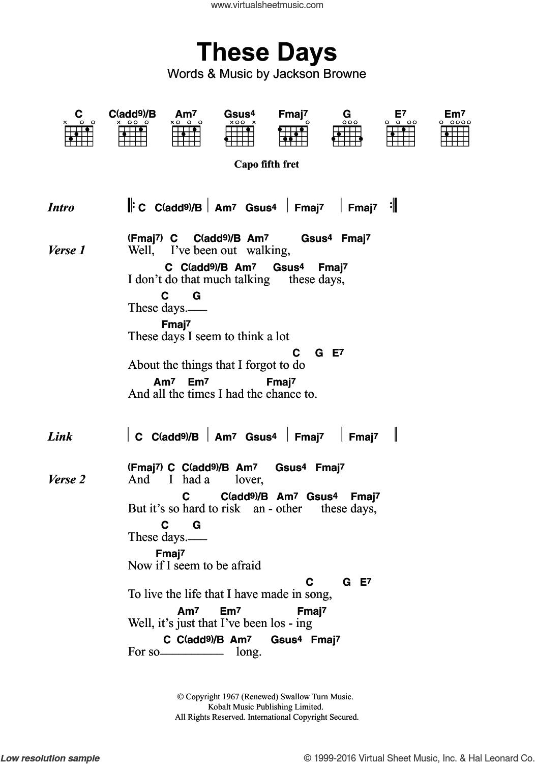 Browne These Days Sheet Music For Guitar Chords Pdf