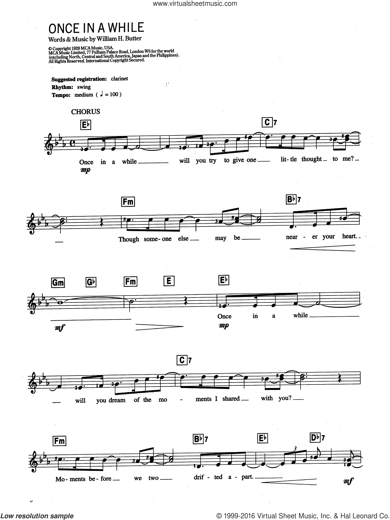 Once In A While sheet music for piano solo (chords, lyrics, melody) by Louis Armstrong and William H. Butter, intermediate piano (chords, lyrics, melody)