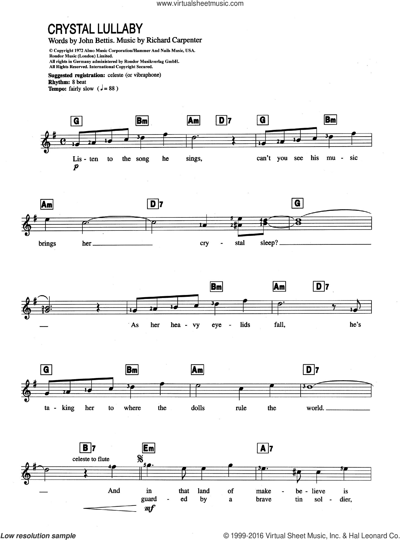Crystal Lullaby sheet music for piano solo (chords, lyrics, melody) by Carpenters and John Bettis, intermediate piano (chords, lyrics, melody). Score Image Preview.