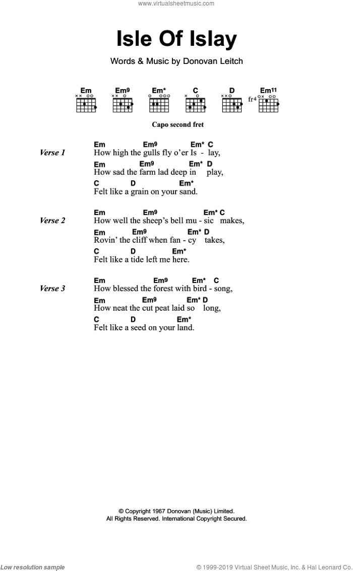 Donovan - Isle Of Islay sheet music for guitar (chords) [PDF]