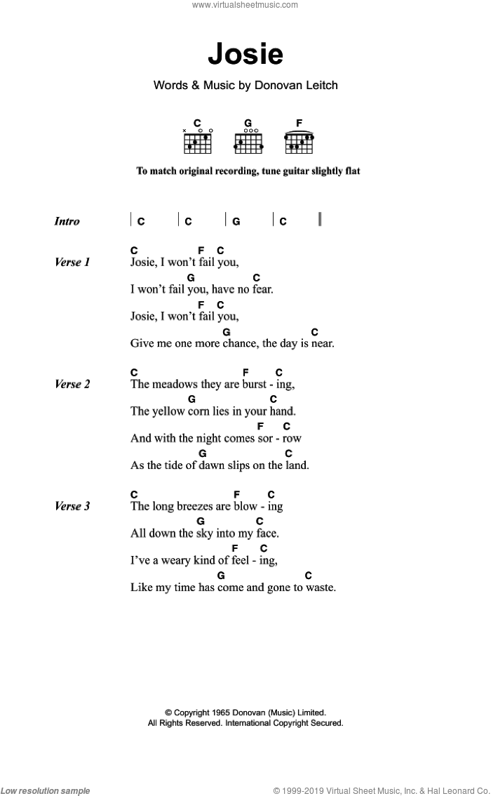 Josie sheet music for guitar (chords) by Walter Donovan and Donovan Leitch, intermediate skill level
