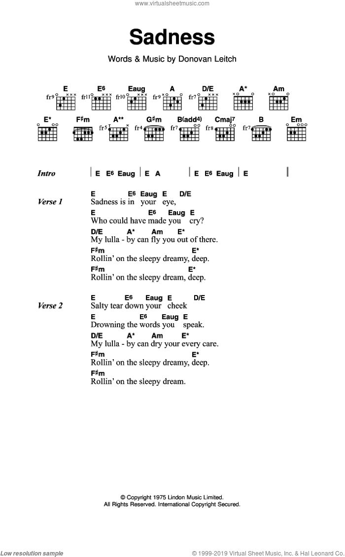 Sadness sheet music for guitar (chords) by Walter Donovan. Score Image Preview.