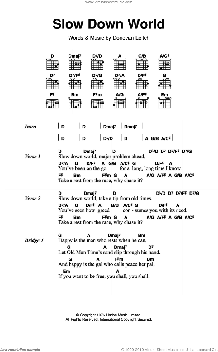 Slow Down World sheet music for guitar (chords) by Walter Donovan and Donovan Leitch, intermediate skill level