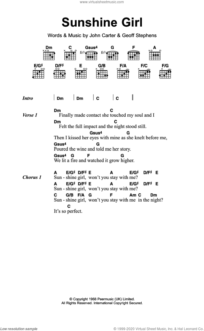 Hermits Sunshine Girl Sheet Music For Guitar Chords Pdf