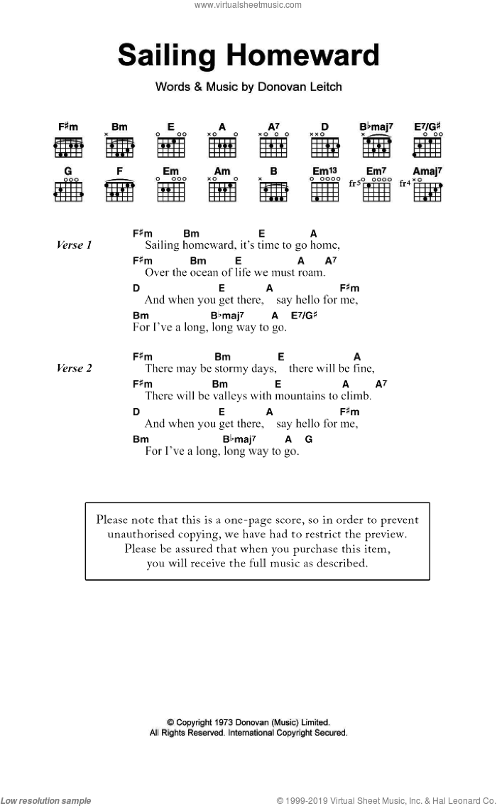 Sailing Homeward sheet music for guitar (chords) by Walter Donovan. Score Image Preview.