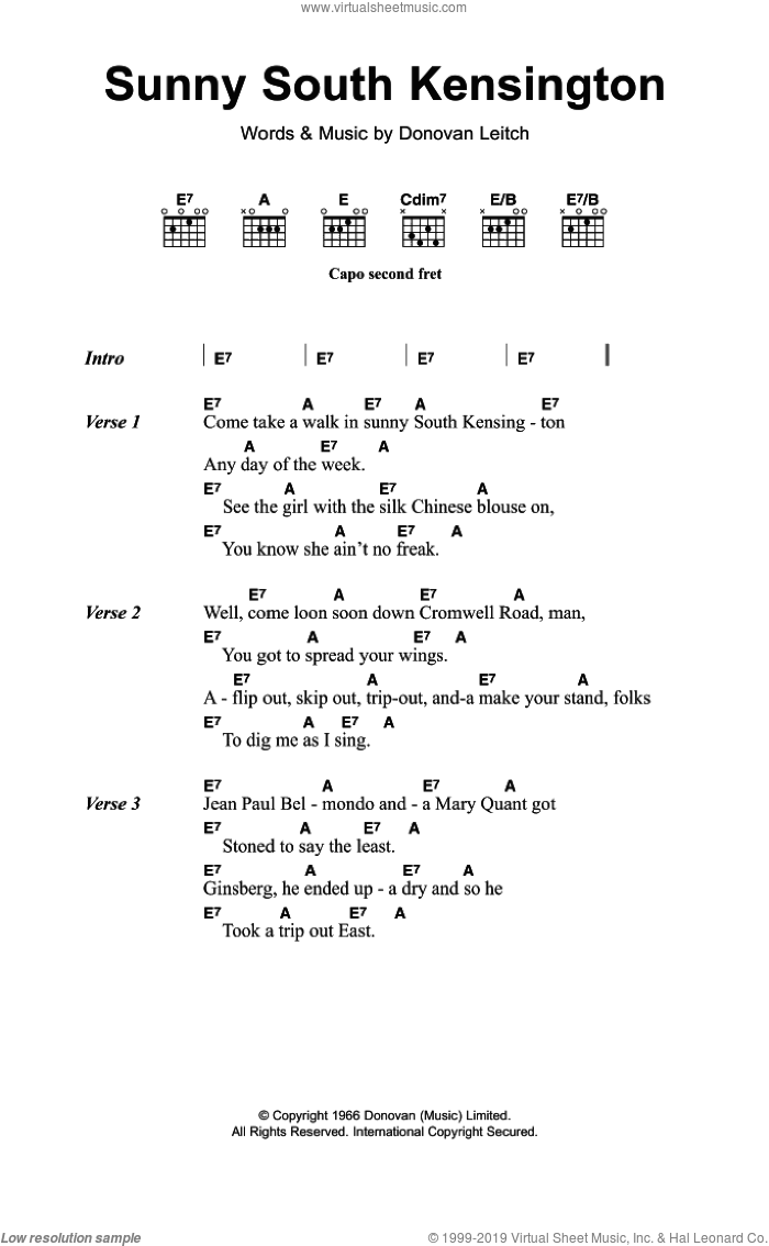 Sunny South Kensington sheet music for guitar (chords) by Walter Donovan and Donovan Leitch, intermediate skill level