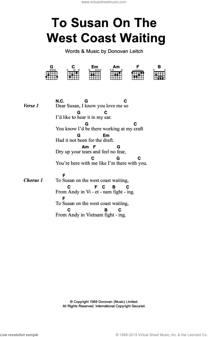 To Susan On The West Coast sheet music for guitar (chords) by Donovan Leitch and Walter Donovan. Score Image Preview.