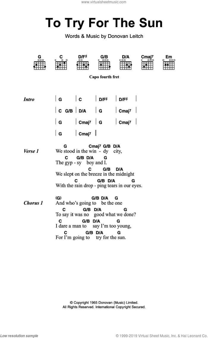 Try For The Sun sheet music for guitar (chords) by Walter Donovan and Donovan Leitch, intermediate skill level