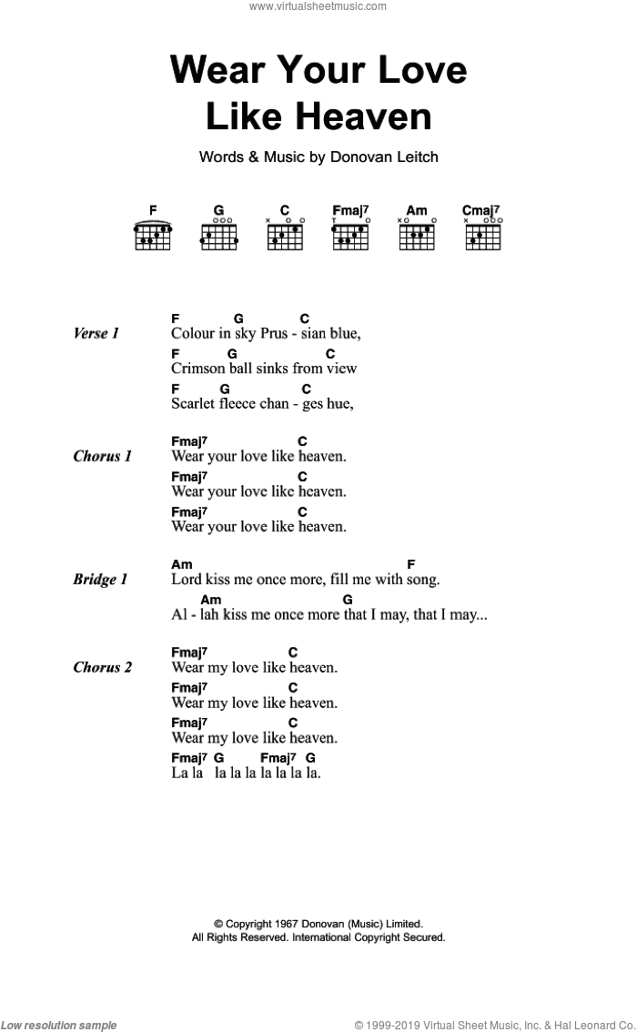 Wear Your Love Like Heaven sheet music for guitar (chords) by Walter Donovan, intermediate guitar (chords). Score Image Preview.