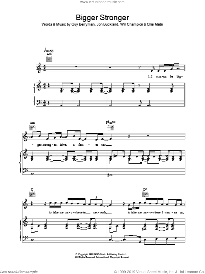 Bigger Stronger sheet music for voice, piano or guitar by Chris Martin