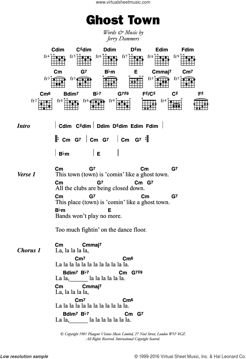 Ghost Town sheet music for guitar (chords) by Jerry Dammers. Score Image Preview.
