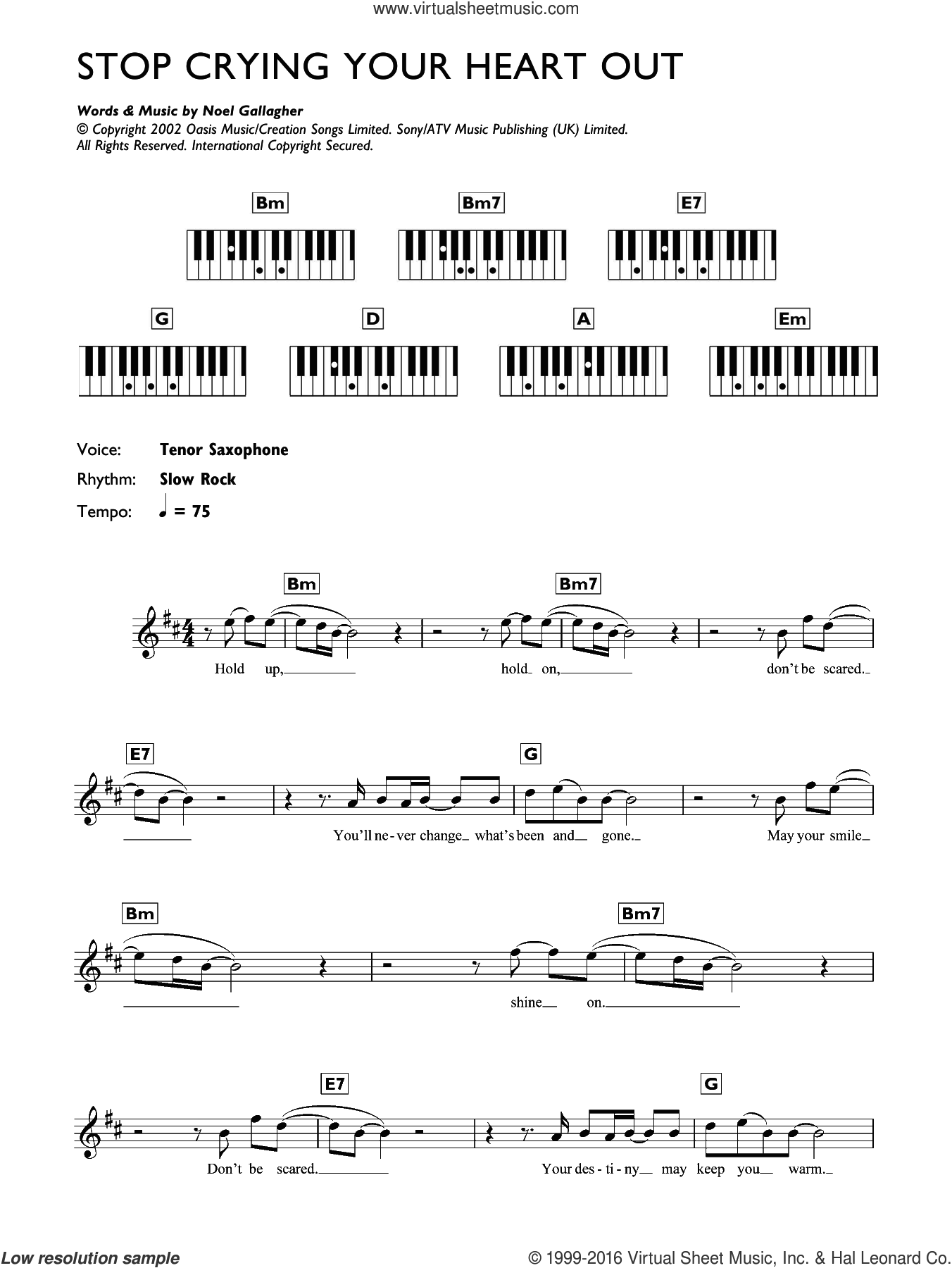 Stop Crying Your Heart Out sheet music for piano solo (chords, lyrics, melody) by Oasis and Noel Gallagher. Score Image Preview.