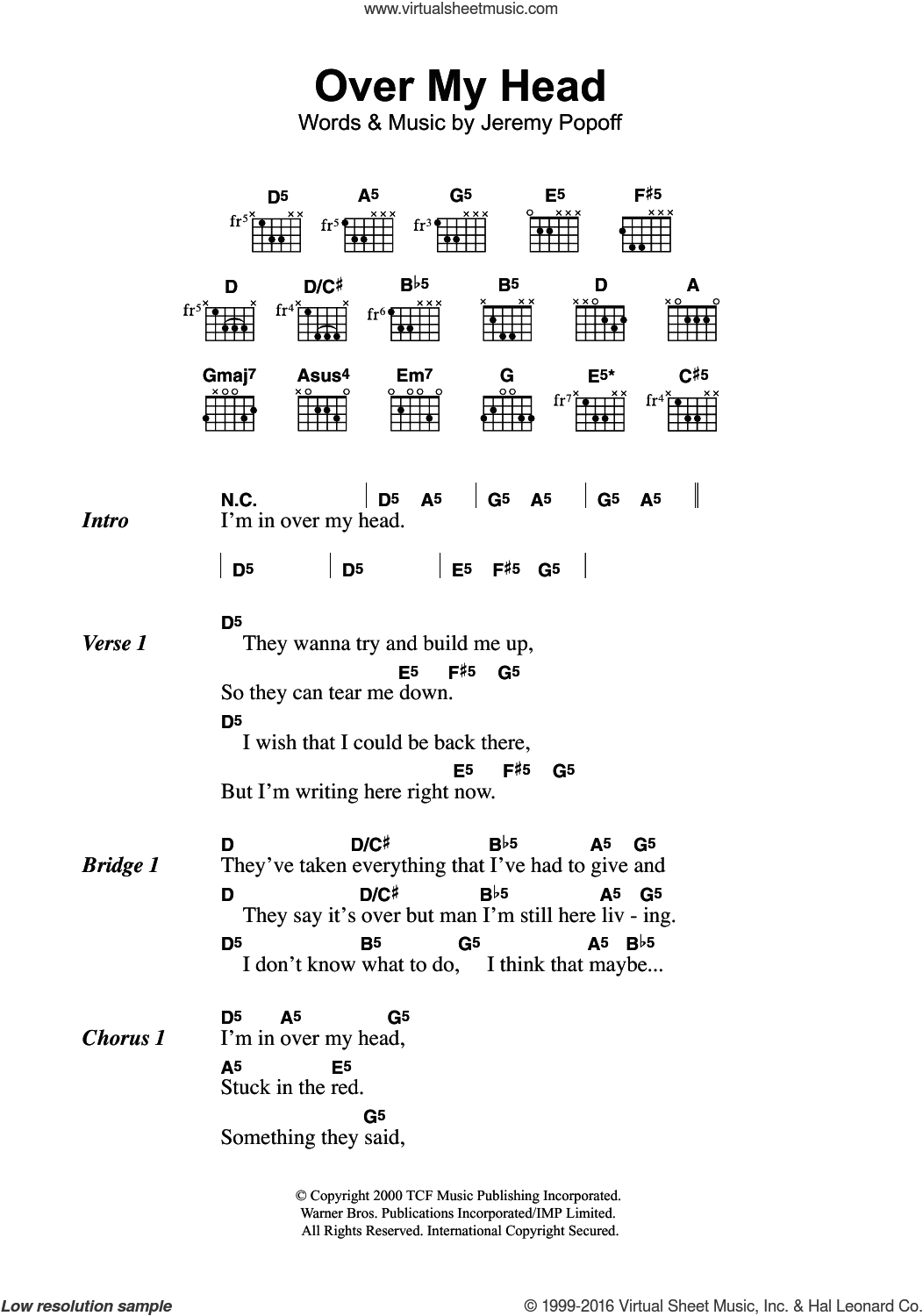 Over My Head sheet music for guitar (chords) by Lit and Jeremy Popoff, intermediate skill level