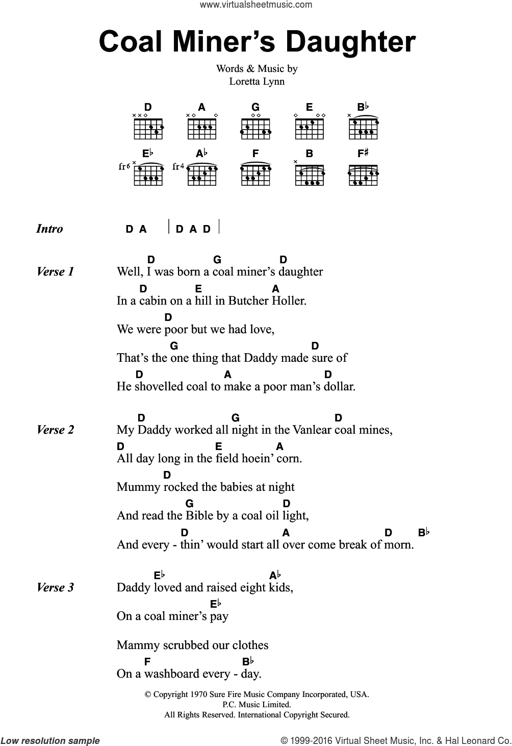Lynn   Coal Miner's Daughter sheet music for guitar chords