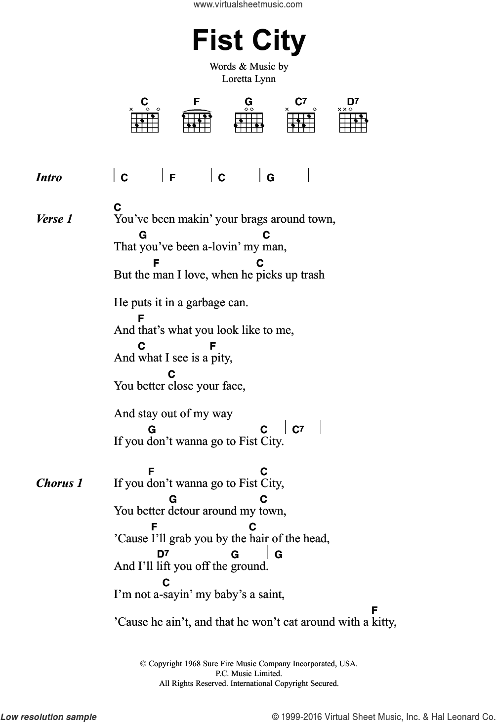 Fist City sheet music for guitar (chords) by Loretta Lynn, intermediate skill level