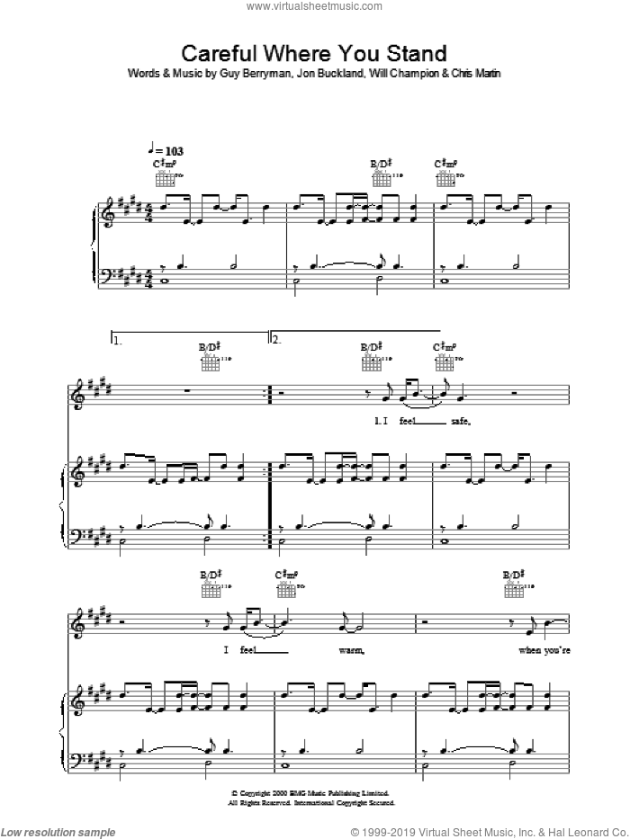 Careful Where You Stand sheet music for voice, piano or guitar by Chris Martin, Coldplay, Guy Berryman, Jon Buckland and Will Champion. Score Image Preview.