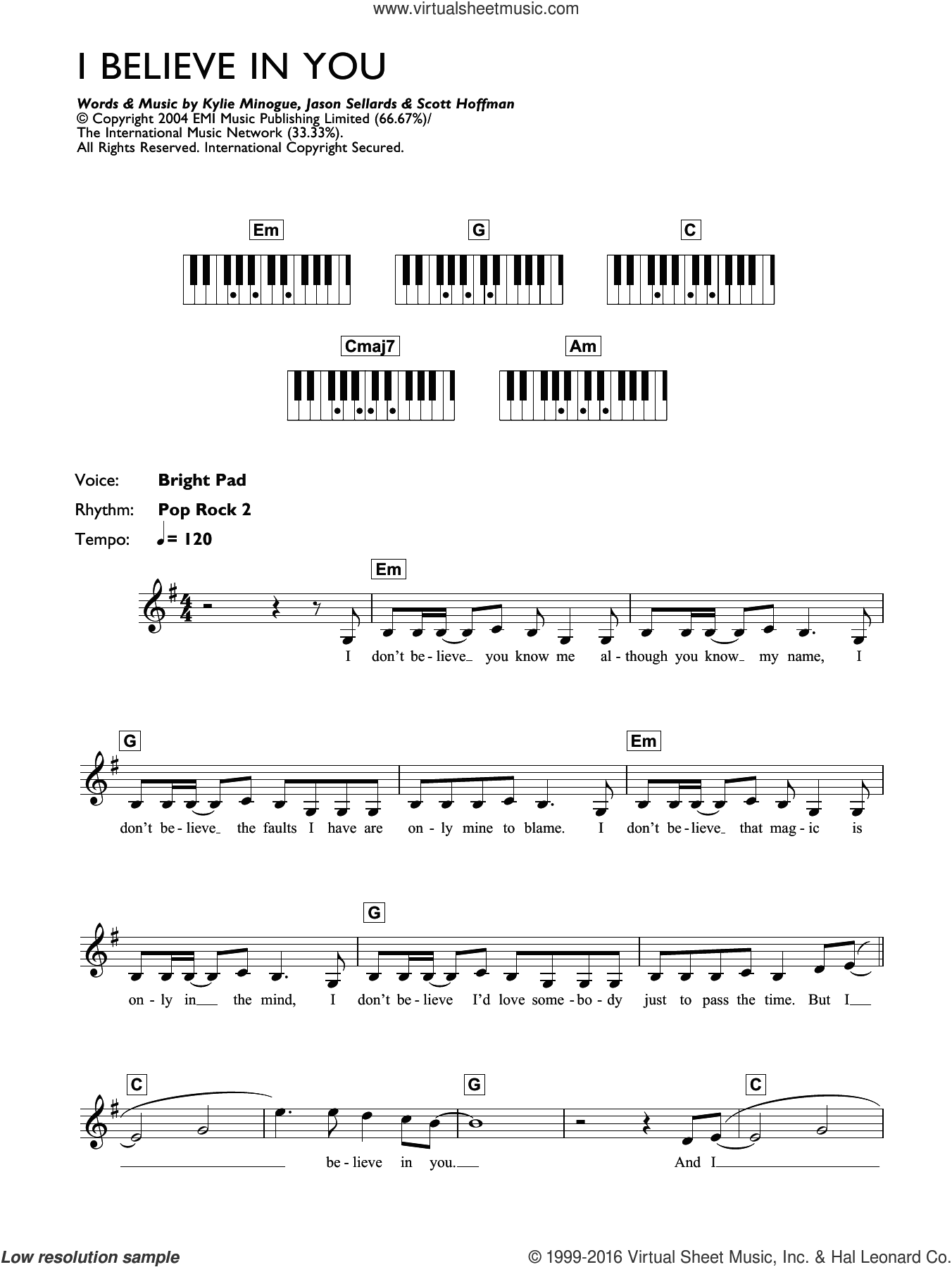 I Believe In You sheet music for piano solo (chords, lyrics, melody) by Kylie Minogue, Jason Sellards and Scott Hoffman, intermediate piano (chords, lyrics, melody)