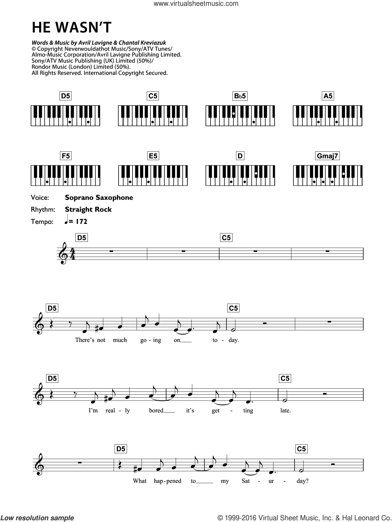 He Wasn't sheet music for piano solo (chords, lyrics, melody) by Avril Lavigne and Chantal Kreviazuk, intermediate piano (chords, lyrics, melody)