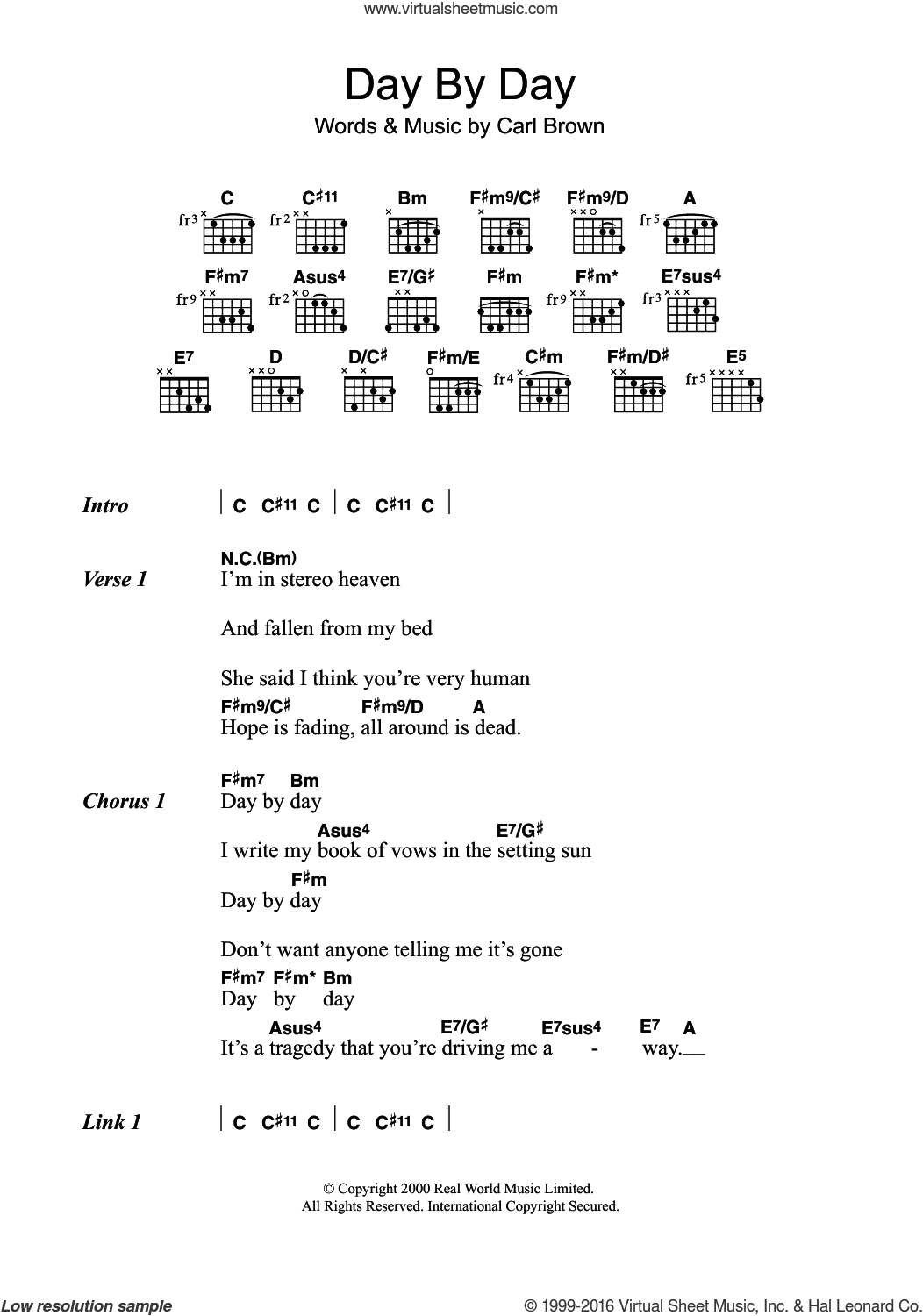 Day By Day sheet music for guitar (chords) by Carl Brown. Score Image Preview.