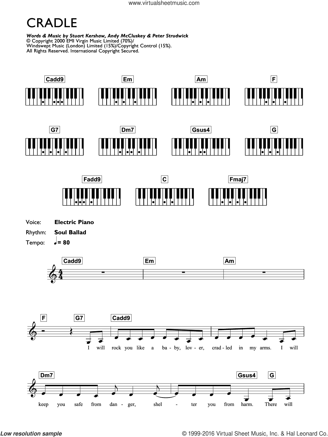 Cradle sheet music for piano solo (chords, lyrics, melody) by Stuart Kershaw, Atomic Kitten and Andy McCluskey. Score Image Preview.