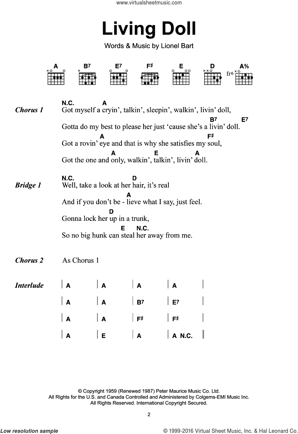 Richard Living Doll Sheet Music For Guitar Chords Pdf