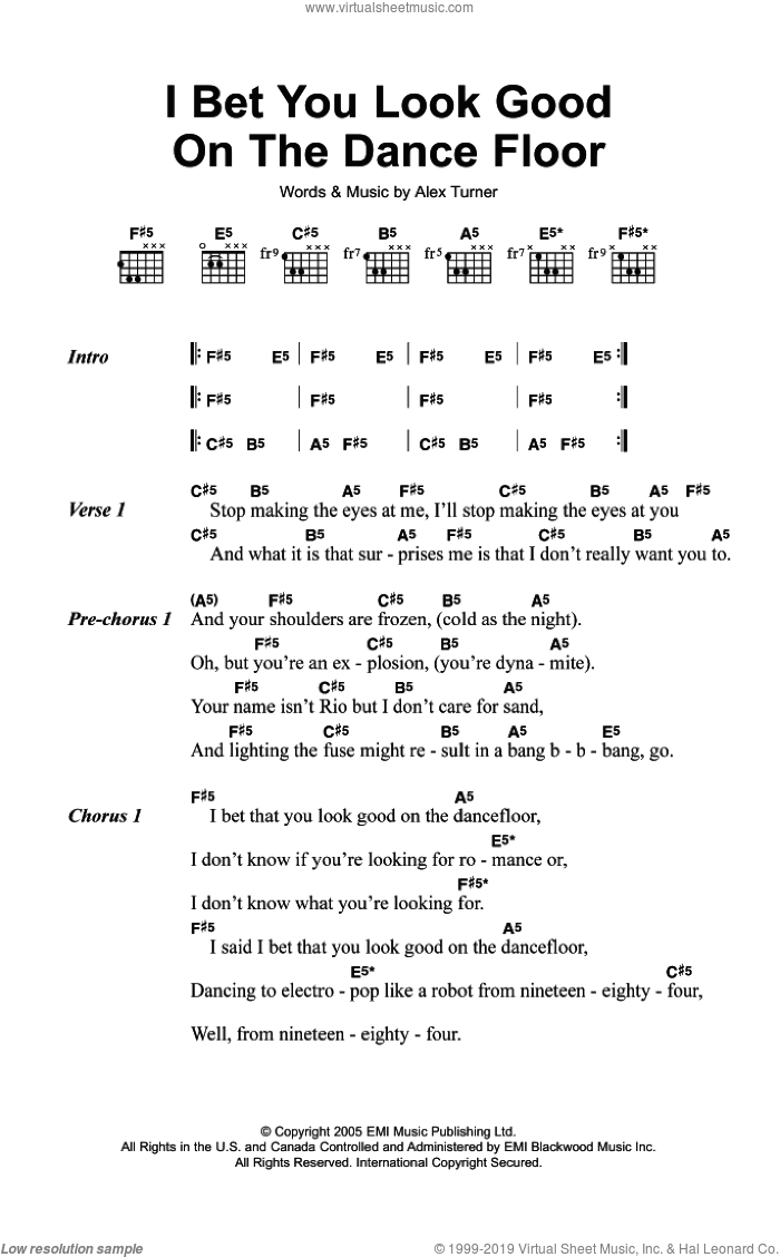I Bet You Look Good On The Dance Floor sheet music for guitar (chords) by Arctic Monkeys and Alexander Turner, intermediate