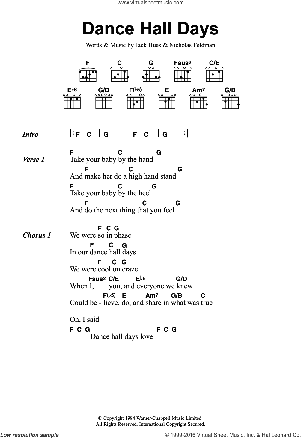 Dance Hall Days sheet music for guitar (chords) by Wang Chung, Jack Hues and Nicholas Feldman, intermediate skill level