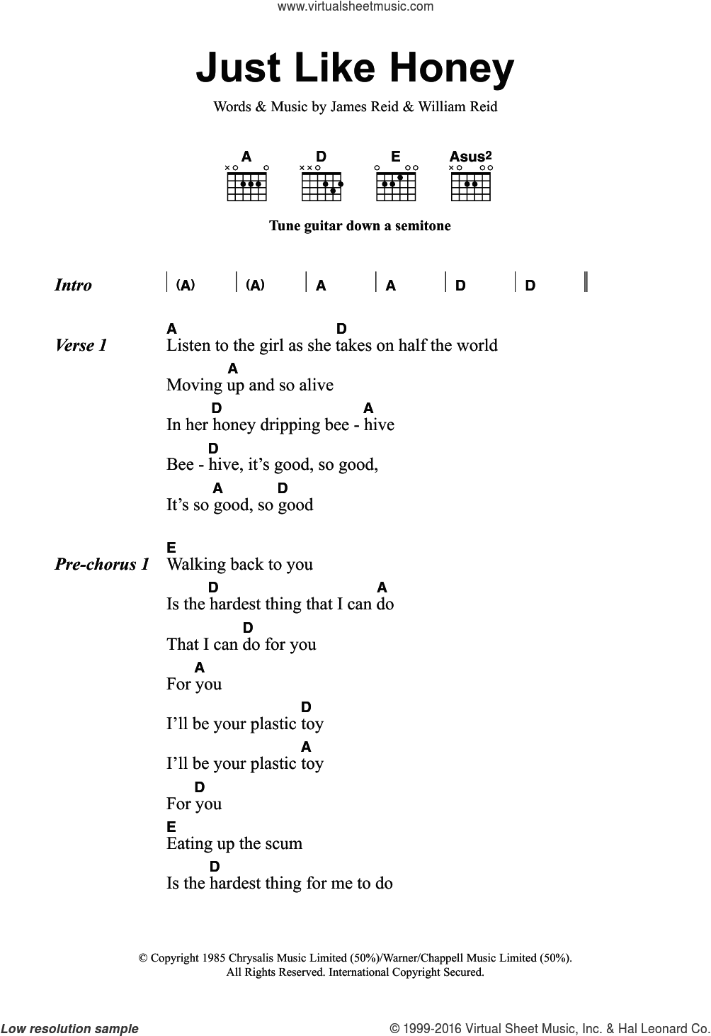 Just Like Honey sheet music for guitar (chords) by The Jesus And Mary Chain, James Reid and William Reid, intermediate
