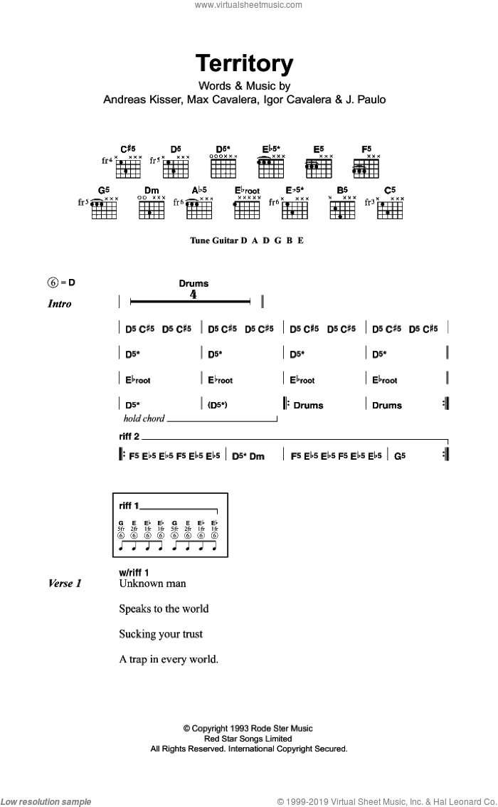 Territory sheet music for guitar (chords) by Sepultura. Score Image Preview.
