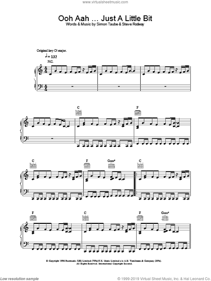 Ooh Aah Just A Little Bit sheet music for voice, piano or guitar by Simon Taube