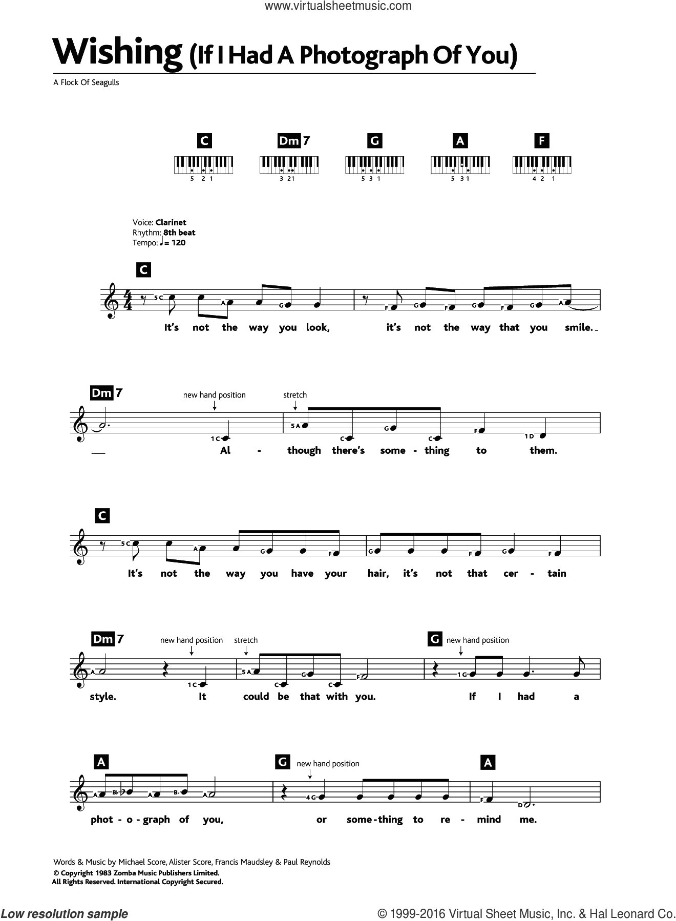 Wishing (If I Had A Photograph Of You) sheet music for piano solo (chords, lyrics, melody) by A Flock Of Seagulls, Alister Score, Francis Maudsley, Michael Score and Paul Reynolds, intermediate piano (chords, lyrics, melody)