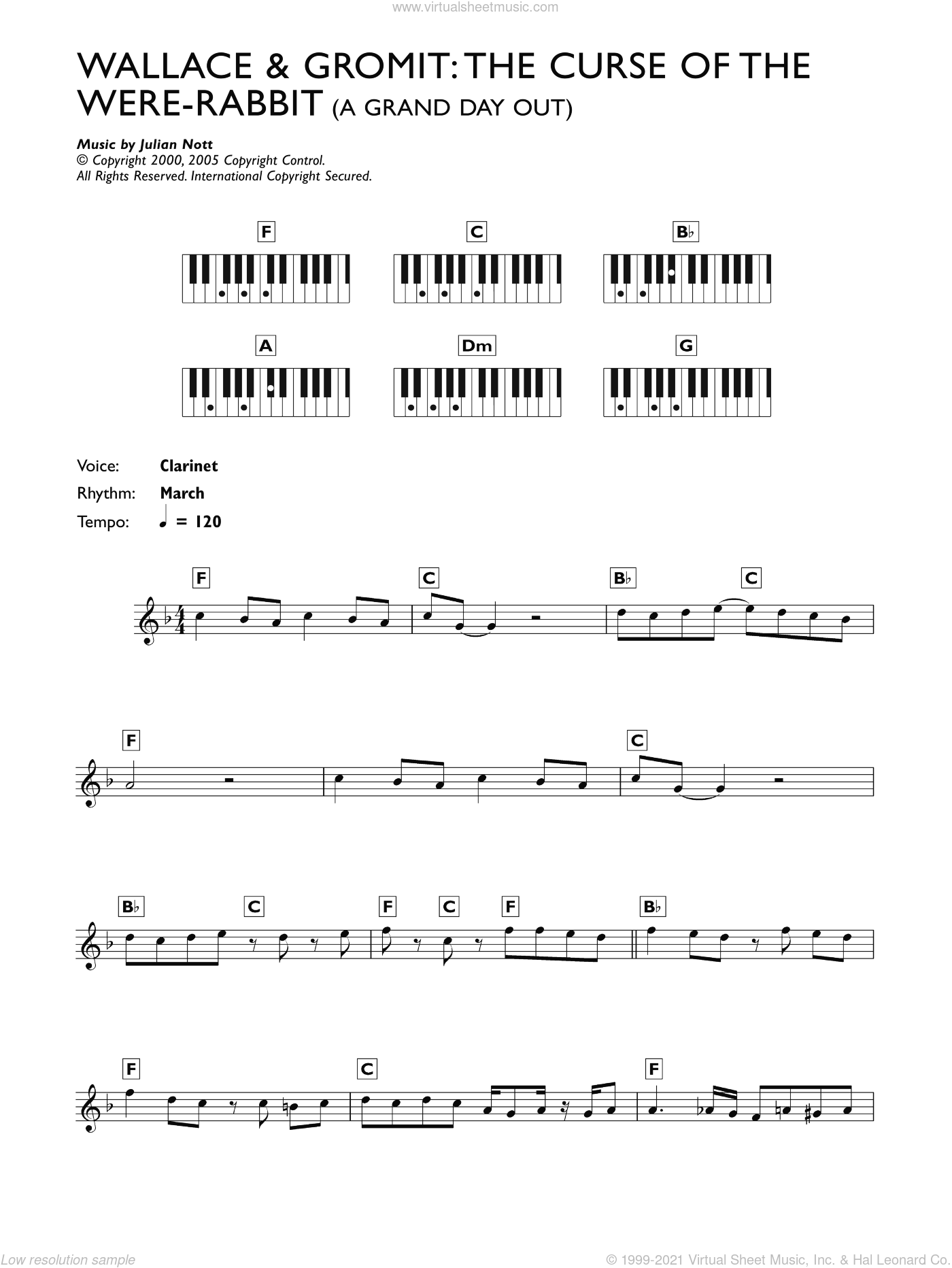 A Grand Day Out (from Wallace And Gromit: The Curse Of The Were-Rabbit) sheet music for piano solo (chords, lyrics, melody) by Julian Nott and James Dooley, intermediate piano (chords, lyrics, melody)