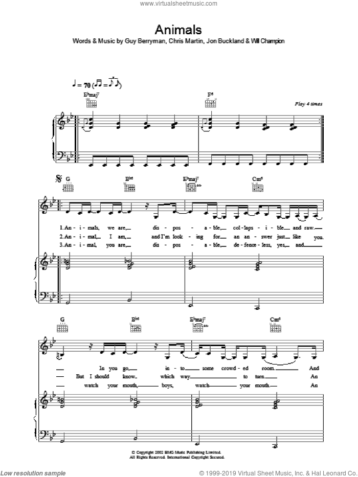 Animals sheet music for voice, piano or guitar by Chris Martin