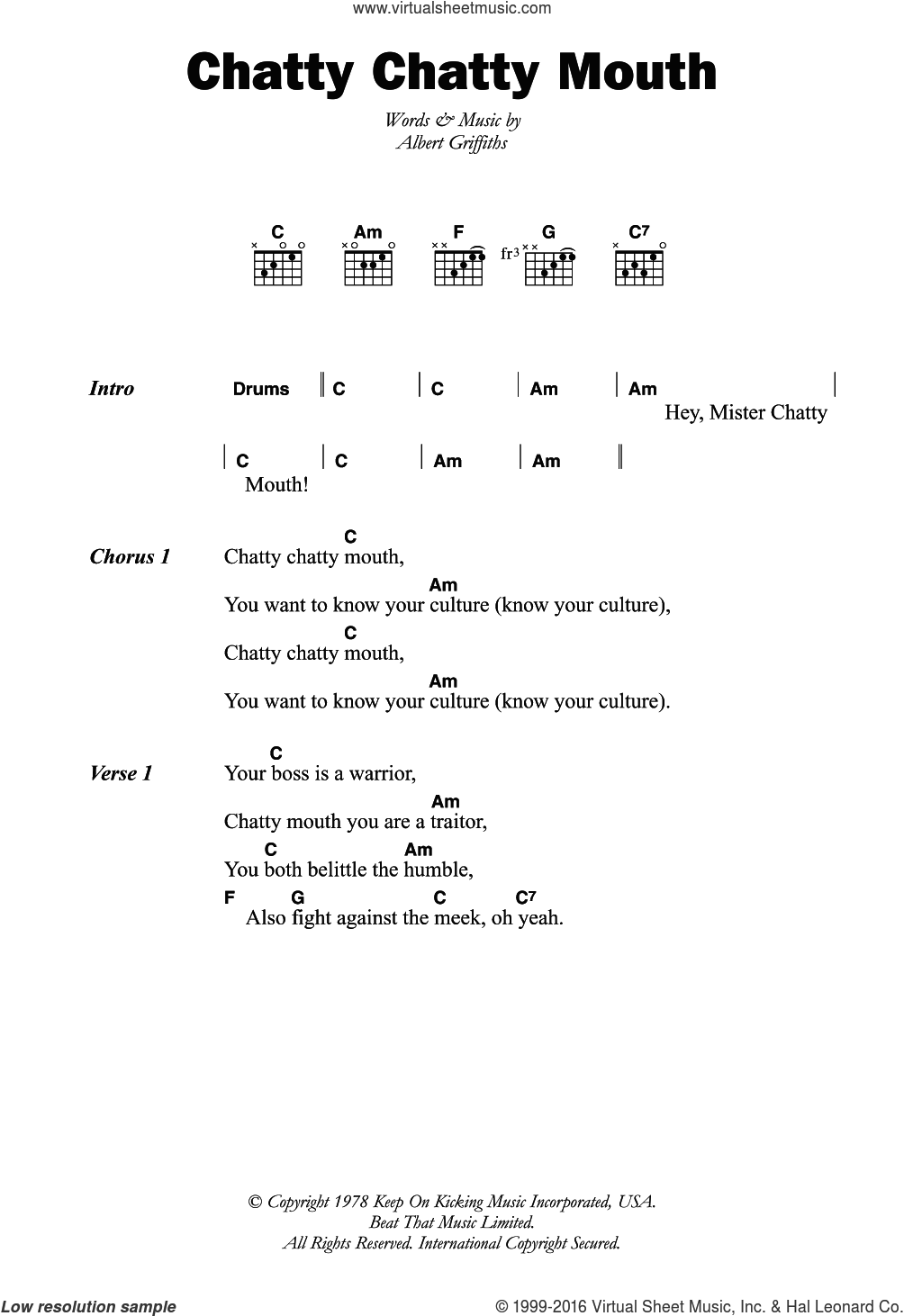Chatty Chatty Mouth sheet music for guitar (chords) by Albert Griffiths. Score Image Preview.