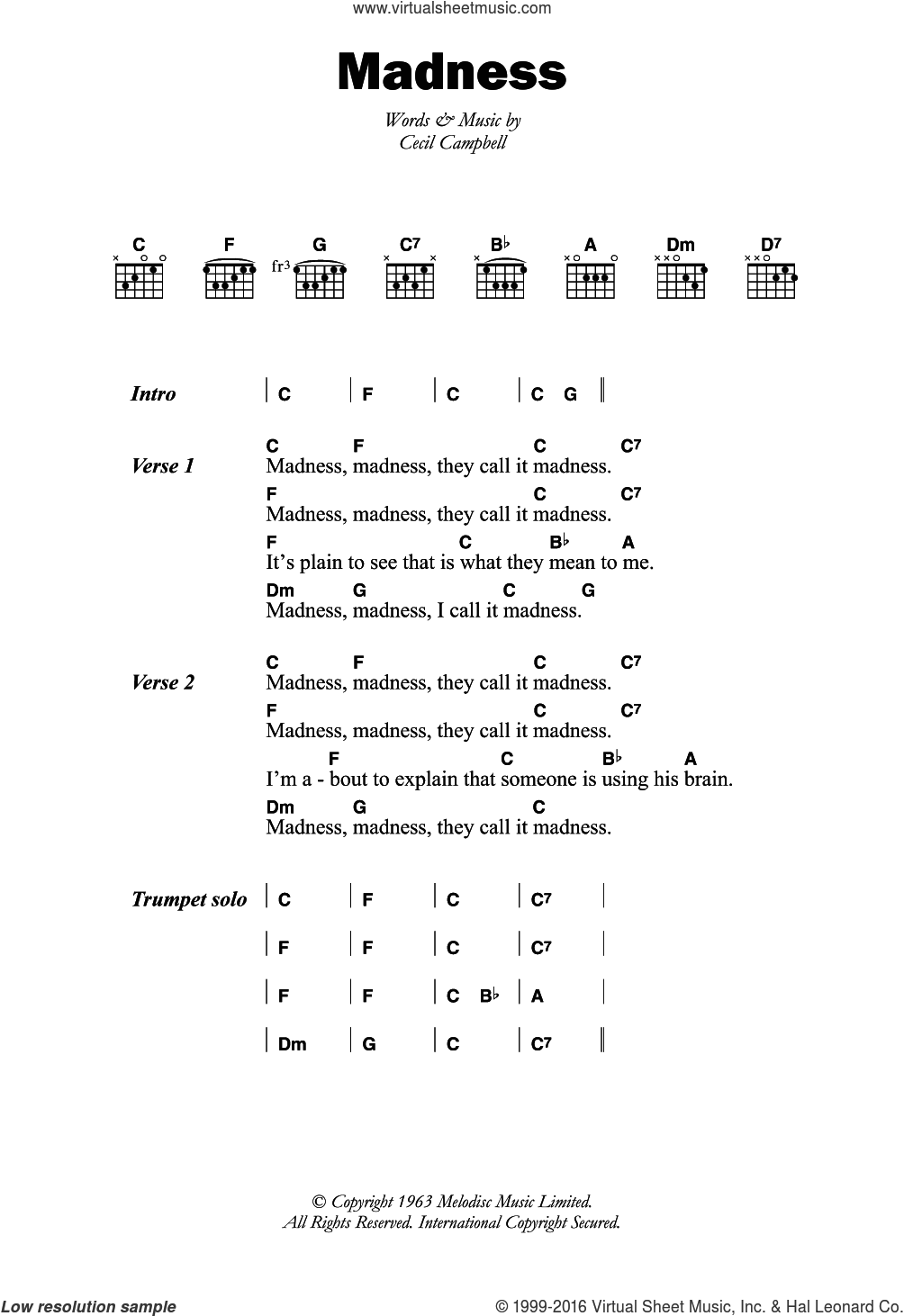 Madness sheet music for guitar (chords) by Prince Buster and Cecil Campbell, intermediate skill level