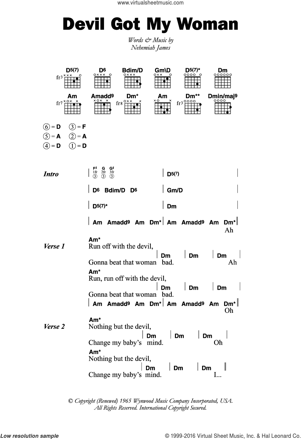 Devil Got My Woman sheet music for guitar (chords) by Nehemiah James. Score Image Preview.