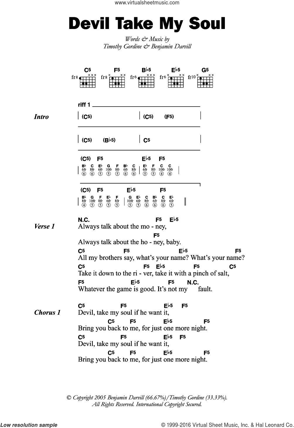 Devil Take My Soul sheet music for guitar (chords) by Son Of Dave, Benjamin Darvill and Timothy Gordine, intermediate skill level