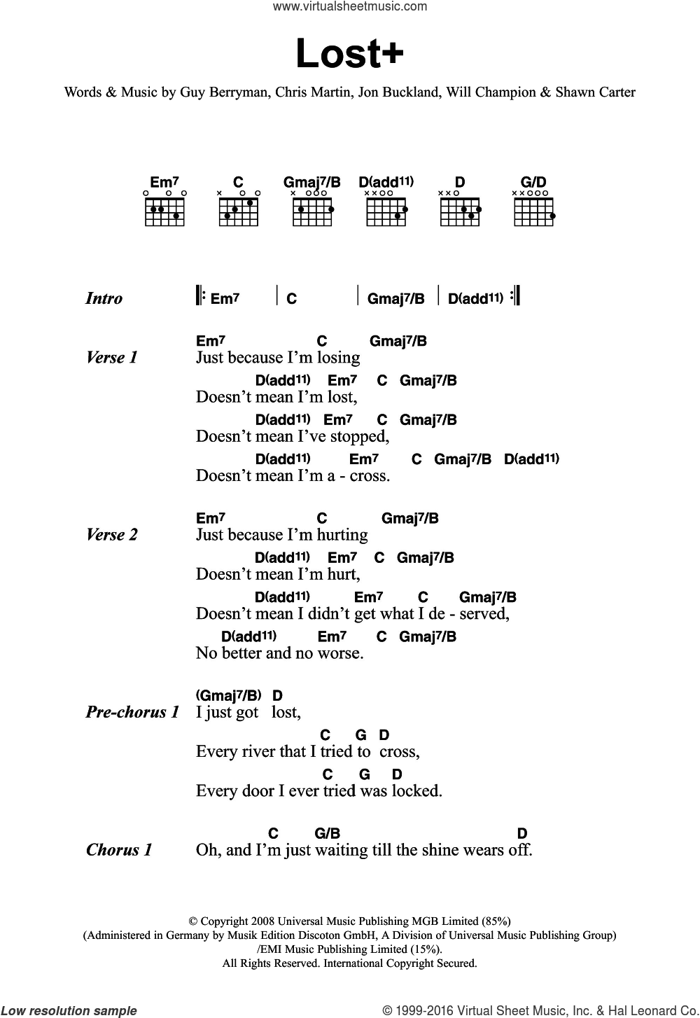 Lost+ (featuring Jay-Z) sheet music for guitar (chords) by Will Champion