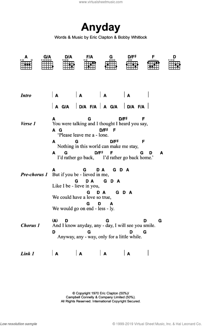 Anyday sheet music for guitar (chords) by Eric Clapton and Derek And The Dominos. Score Image Preview.