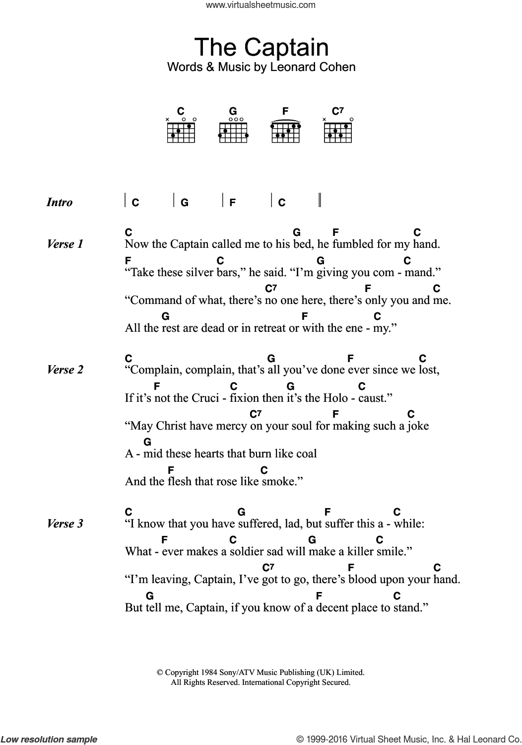 The Captain sheet music for guitar (chords) by Leonard Cohen, intermediate skill level