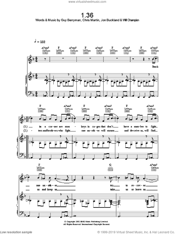 1.36 sheet music for voice, piano or guitar by Coldplay, intermediate. Score Image Preview.