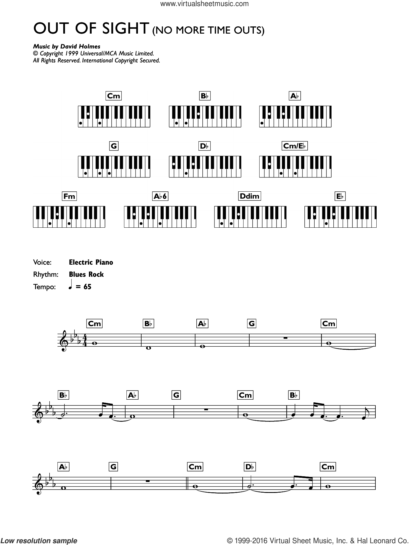 No More Time Outs (from Out Of Sight) sheet music for piano solo (chords, lyrics, melody) by David Holmes. Score Image Preview.