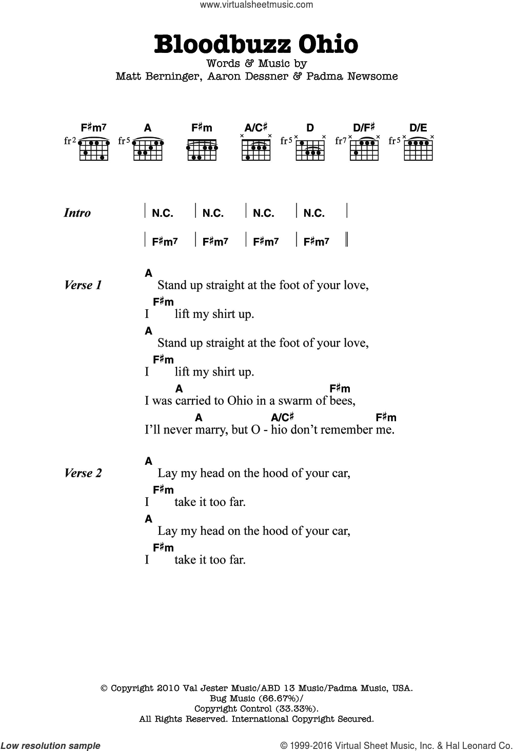 Bloodbuzz Ohio sheet music for guitar (chords) by Padma Newsome, Aaron Dessner and Matt Berninger. Score Image Preview.
