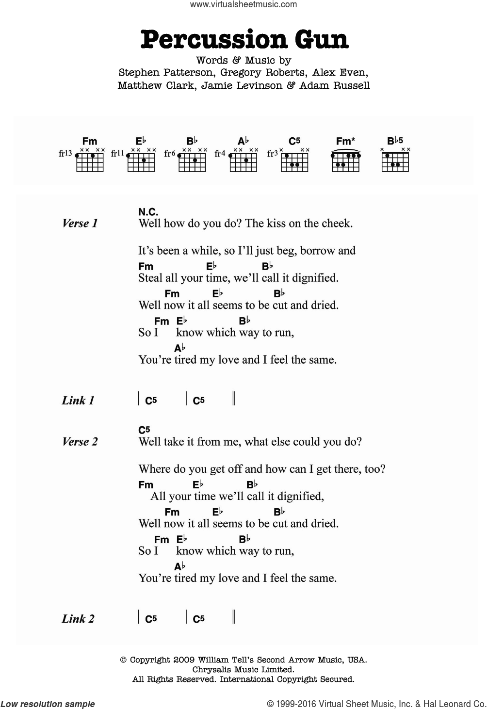 Percussion Gun sheet music for guitar (chords) by White Rabbits, Adam Russell, Alex Even, Gregory Roberts, Jamie Levinson, Matthew Clark and Stephen Patterson, intermediate