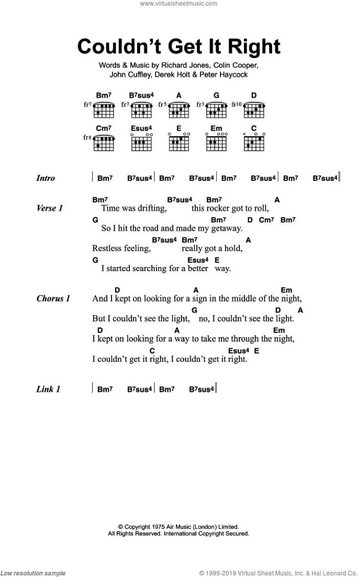 Couldn't Get It Right sheet music for guitar (chords) by Climax Blues Band, Colin Cooper, Derek Holt, John Cuffley, Peter Haycock and Richard Jones, intermediate skill level